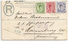 1909 ZANZIBAR TO GERMANY REGISTERED FORMULA COVER, 3 COLORS FRANKING !!
