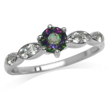 Mystic Fire Topaz 925 Sterling Silver Engagement Ring SZ 7