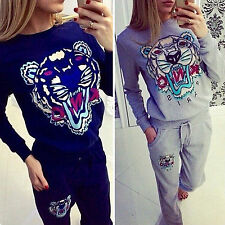 Womens Tiger Print Tracksuit Sweatshirt Pants 2Pcs Set Sport Running Jogger Suit