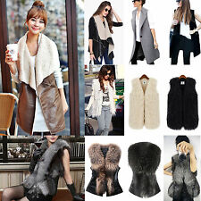 Women Sleeveless Vest Ladies Open Front Cardigan Jacket Coat Casual Tops UK 6-18