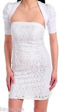 White Lace Overlay Tube Dress w/ Lace Back Short Sleeve Shrug 2 Piece Set