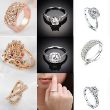 Fashion Women Lady  Silver Charm Crystal White Gold Filled Ring Wedding Jewelry