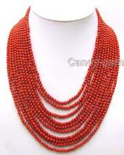 """SALE 10 Strands 3-4 MM Red Round High Quality natural Coral 18-23"""" Necklace-5777"""