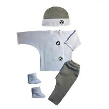 Baby Boy Gray Soccer Ball 4 Piece Clothing Outfit - 4 Preemie and Newborn Sizes