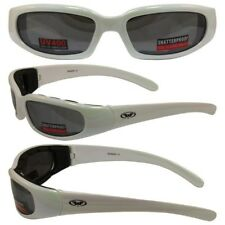 WHITE Padded Motorcycle Sun Glasses-TRANSITION PHOTOCHROMIC LENS or Flash Mirror