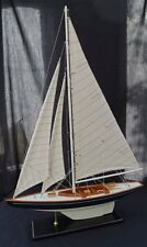 Detailed wooden assembled display model of racing yacht