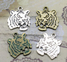 Free shipping 6/18pcs Retro Style alloy Double sided tiger head Charms Pendant
