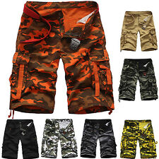 Men Army Combat Camo Overalls Casual Work Multi-Pocket Shorts Fifth Sports Pants