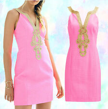 $198 Lilly Pulitzer Emery Pink Pout Metallic Gold Soutache Detail Shift Dress