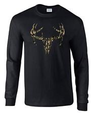 Camo Deer Skull Camouflage Hunting Long Sleeve T-Shirt
