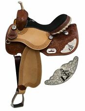 "Double T Barrel Style Saddle Silver Engraved Barrel Racer Accent 15"" 16"" NEW"