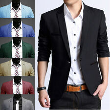 Stylish Men 8 Colors Slim Polyester Casual One Button Suit Blazer Coat Jackets