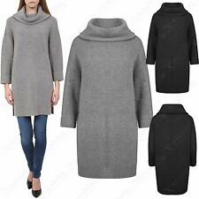 WOMENS COWL NECK THICK KNIT JUMPER DRESS LADIES POLO WARM WINTER SWEATER TUNIC