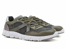 Dolce & Gabbana fashion trainers in green leather and grey fabric Made in Italy