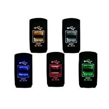 Waterproof LED 12-24V 3.1A Motorcycle Car Dual USB Power Charger Socket Switch