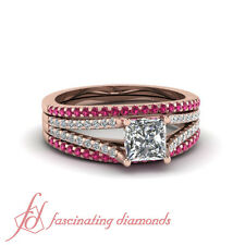 Womens Engagement Rings & 2 Sapphire Wedding Bands With Princess Diamond 1.10 Ct