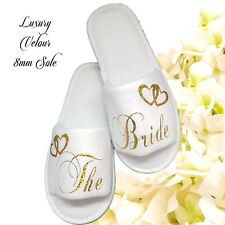 Personalised Bride Spa Slippers Wedding Guest  Sparkling Gold Letters
