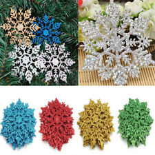 12Pcs New Glitter Snowflake Christmas Ornaments Xmas Tree Hanging Charm Decors