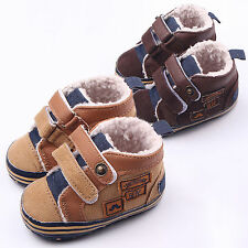 Newborn Boys Winter Canvas Stitching PU Toddler Shoes Anti-slip Prewalker Shoes