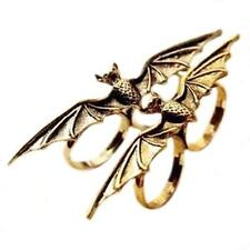 Antique Animal Vampire Flying Bat Wing Cave Two Fingers Adjustable Ring Punk !