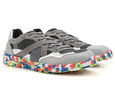Dolce & Gabbana men's fashio trainers sneakers shoes in grey leather and Fabric