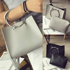 2PCS Women Handbag Shoulder Bag Leather Messenger Hobo Bag Satchel Purse Tote