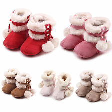 2016 Kids Girls Christmas Bowknot Boots Anti-slip Shoes Prewalkers First Walker