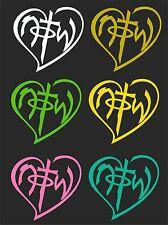 NOTW (not of this world) HEART WINDOW DECAL..2 FOR 1...PICK YOUR SIZE AND COLOR