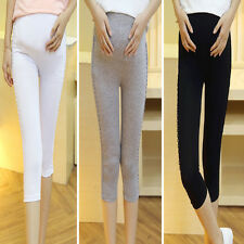 Fashion New Pregnant Women Elastic Capris Pant Solid Cotton Maternity Leggings