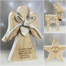 Personalised Rustic Wooden Christmas Xmas Decorations 1st Christmas Gift Idea