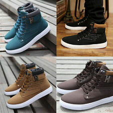 Fashion Men Korean Lace-UP Martin Boots High Ankle Casual Board Shoes Size 39~45