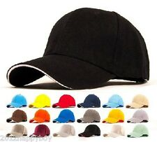 Unisex Plain Fitted Baseball Cap Curved Visor Solid Blank Color Caps Sun Hats
