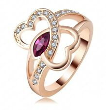 Ring, wedding ring double hearts interlaced gold plated, multi sizes
