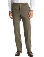 ZANELLA Devon Flat Front Cotton Pants 36 x 36 Olive Green Made In Italy $295