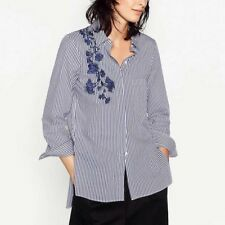 Womens Striped Print Floral Embroidered Long Sleeve Button Down Shirt Blouse Top