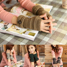 Womens Ladies Button Arm Warmer Long Fingerless Knit Mitten Winter Gloves 73h
