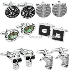 Stainless Steel Rhinestone Men's Wedding Party Cufflink Shirt Cuff Link Stud Set