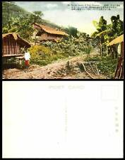 Taiwan Formosa Old Postcard Native Taiwanese Savage Houses Woman by Roadside Hut