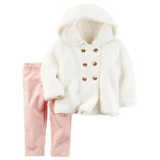 Carter's Girls 2 Piece Ivory Front Button Cardigan and Pink Pant Set