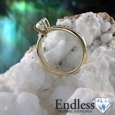 14k Yellow Gold Promise Ring 0.95 CT Real Diamond VS-SI G-H Size 5.5 Enhanced