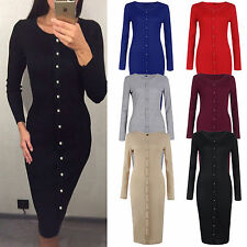 Womens Simple Long Sleeve Cocktail Bodycon Button Down Pencil Dress Clubwear Top