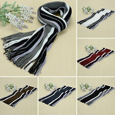 Women Lady Men Knit Cashmere Scarf Stripes Strench Warm Neckerchief Scarves Wrap