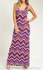 Red/Purple Multi Chevron Stripe Racerback Sleeveless Tank Long Maxi Dress S/M/L