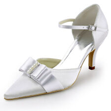 Ivory Pointed Toe High Heel Ankle Strap Bow Pearl Satin Wedding Bridal Shoes