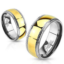 Etched Edges Black IP Stainless Steel Wedding Band Couple Mens Ring