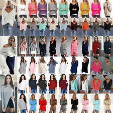 Oversize Women's Knit Sweater Pullover Baggy Jumper Tops Cardigan Blouse UK 6-16