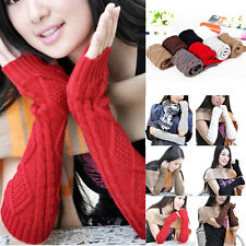 Fashion Women Girl's Solid Knitted Wool Long Fingerless Arm Warmers Elbow Gloves