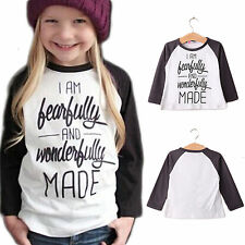 Toddler Kids Unisex Baby Girls Boy Letter T-Shirt Long Sleeve Top Pullover Shirt