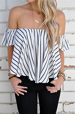 Sexy Women Tops Off Shoulder Striped Strapless T-shirt Loose Blouses Short Tops