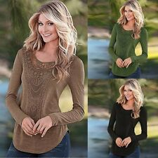 New Fashion Women's Ladies Long Sleeve Lace T Shirt Blouse Top Casual Loose Tops